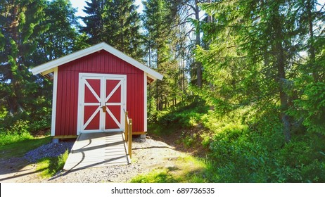 A storage shed for garden tools