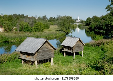 Storage shed nineteenth century on the banks of the river in Suzdal. Russia