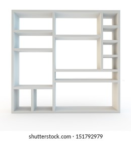 storage or shelving wall unit modern furniture on white background