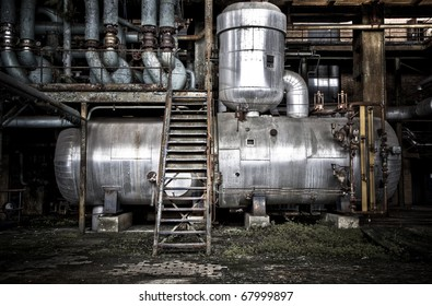 A storage tank inside an old abandoned factory
