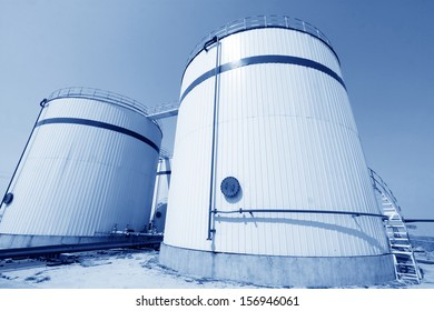 storage tanks in a chemical plant, north china