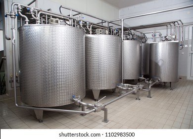 Storage Tanks For Milk Used For Milk Products Production In The Modern Dairy Plant