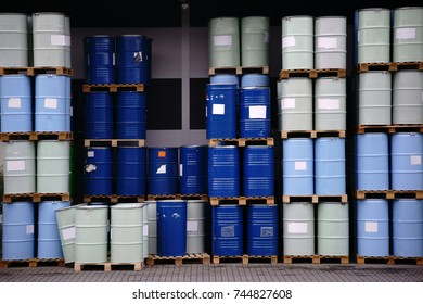 The storage of toxic waste and chemicals in metal cans on the factory premises of a chemical plant / Toxic waste chemical plant