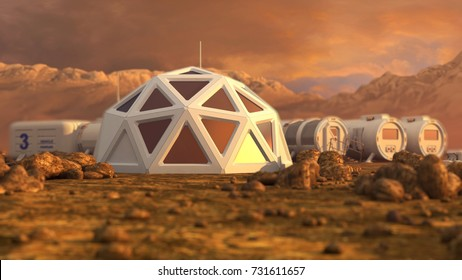 Storage warehouse. The colony on Mars. Autonomous life on Mars. 3D rendering