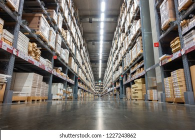 Storage warehouse and distribution store, Products on shelf.