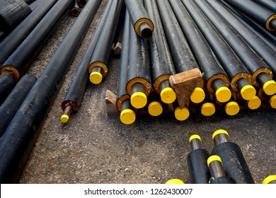 Storage of water pipes, prepared for assembly