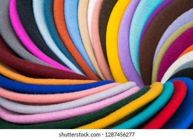 Store cloth with natural colors and complex patterns. Multicolored background.
