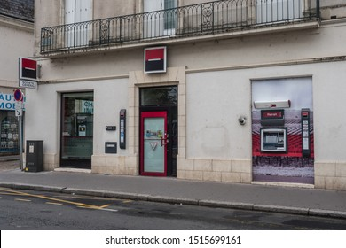 Societé Général store front in france : bank and insurance company, Granville, France, 27-8-19