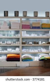 Store interior - shelves with home decor products