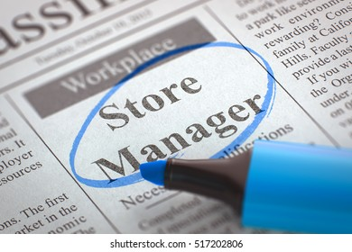 Store Manager - Small Advertising in Newspaper, Circled with a Blue Highlighter. Blurred Image. Selective focus. Job Seeking Concept. 3D.