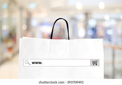 Store online, E commerce shop concept, Web banner with www on on blank search bar address over blur store, shop background, online marketing for e commerce