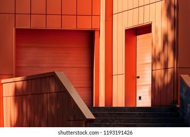The store. The orange walls
