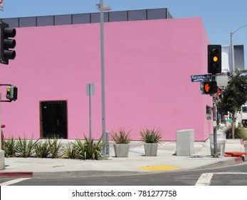Store with pink color of facade, Melrose Avenue Los Angeles California