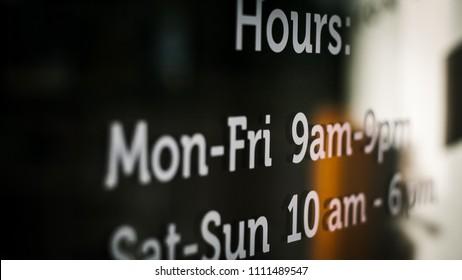 store scheduled hours of open