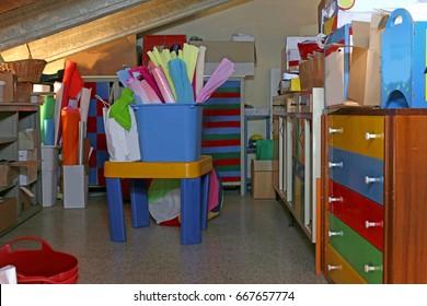 Store of school supplies in the attic of the kindergarten
