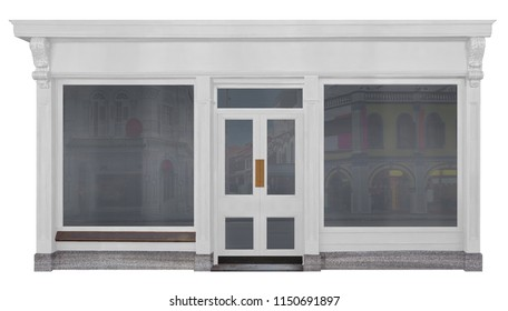 Store with white painted front of wood isolated on white background