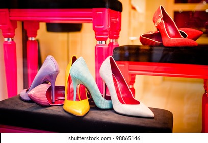 Store window with colorful luxury shoes at Cesare Paciotti boutique shop in Via Montenapoleone in Milan on March 30, 2012. It is a famous italian brand led today by Paola and Cesare Paciotti