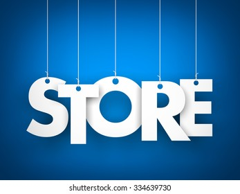 Store word - suspended by ropes