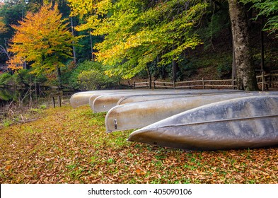 Stored canoes and fall foliage in the Appalachian Mountains