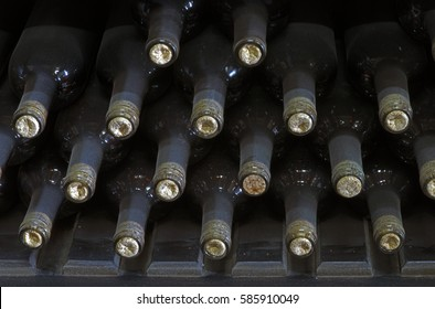 Stored wine bottles on a small winery shop