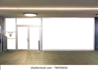 Storefront Mockup City Urban Flat Wall Glass Doors White Isolated Business Small Display Blank
