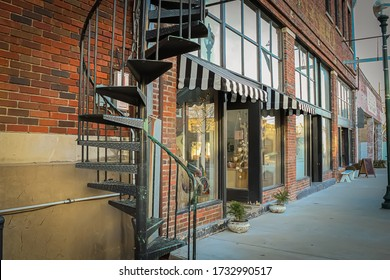 A storefront of old building in Historic Downtown McKinney, Texas.