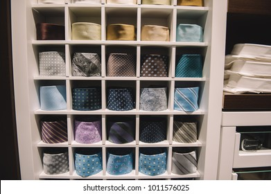 storefront ,shelves in a men's clothing store  , Men's clothing store