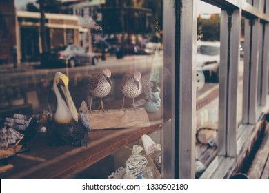 A storefront window in downtown Beaufort, South Carolina.