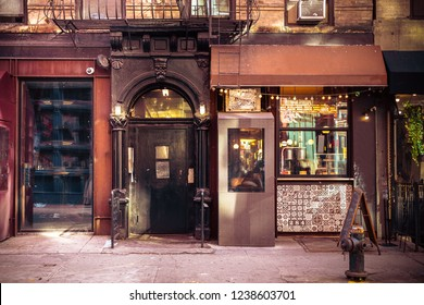Storefronts from old New York City building exterior