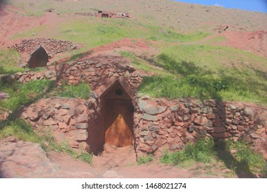 Storehouse cave for keeping the food supplies in Abyaneh Village the traditional Iranian village in Isfahan Province, Iran.