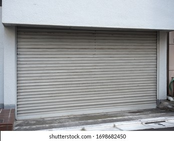 Stores with closed shutters in Japan