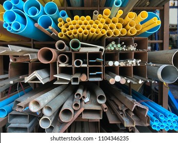 Stores selling pvc pipes, carbon steel, pipes round steel,  Various types of steel are used to work construction and many building systems