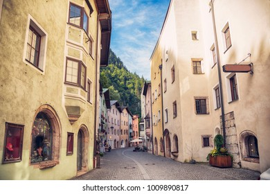 stores street in town Rottenberg, Tyrol area in Austria