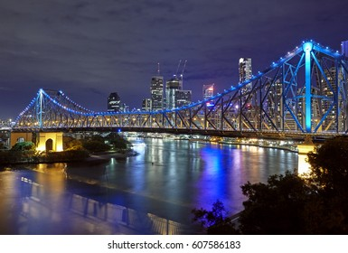 'Storey Bridge' spanning the River Brisbane with skyline of Downtown Brisbane at night
