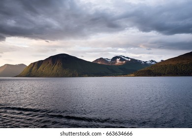 Storfjord at sunrise. Stretching about 110 kilometers, Storfjord is the 5th longest fjord in Norway.