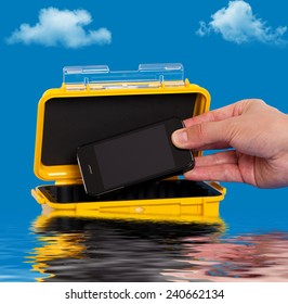 Storing a cell phone in a water resistant case