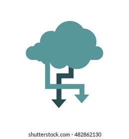 Storing files in cloud icon in flat style isolated on white background. Online symbol