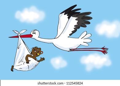 Stork and baby, cartoon
