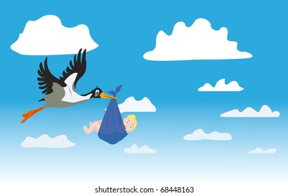 The stork with the child flies on the sky along clouds