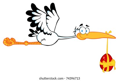 Stork Flying With Easter Egg