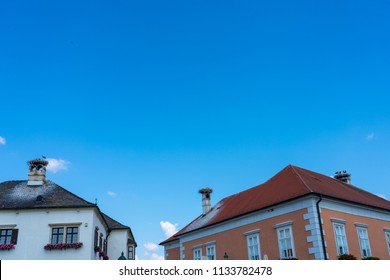 Stork nests on the roof of house in the village, Rust, Austria.