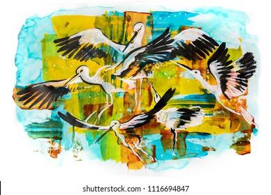 storks, acrylic illustration