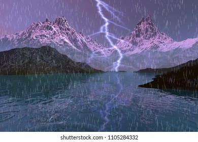 Storm, 3D rendering, an autumn landscape, rain and a big lightning over the lake, rocks and snowy mountains in the background.