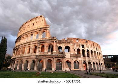 storm approaching Colosseum in Rome