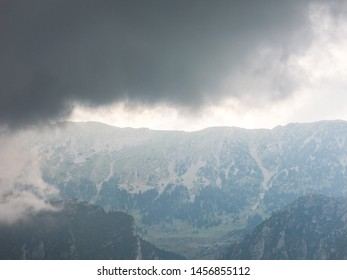 The storm is approaching. Image from the El Pedraforca massif. It is one of the most emblematic mountains of Catalonia, Spain, the district of Bergada, in the province of Barcelona.