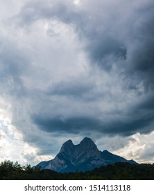 The storm is approaching. Image to the El Pedraforca massif. It is one of the most emblematic mountains of Catalonia, Spain, the district of Bergada, in the province of Barcelona.