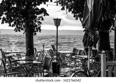 Storm in the beer garden at the Ammersee