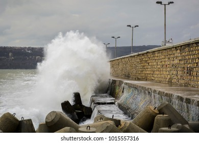 Storm and big waves in Varna, winds and cloudy sky, Varna, Bulgaria