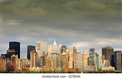 Storm brewing over Manhattan's financial district.