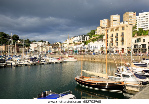 A Storm cloud brews over Torquay Harbour on the night of the big thunderstorm that damaged parts of the West Country, Devon, England 18th July 2017